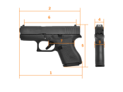 GLOCK G43 set Gen.3 NS Steel, Subcompact, кал. 9 mm Luger
